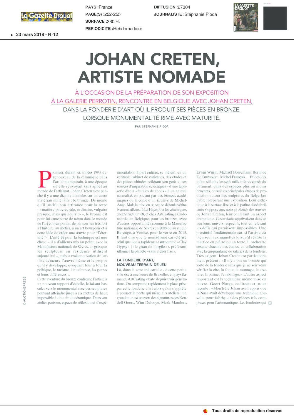 La Gazette Drouot | Johan CRETEN