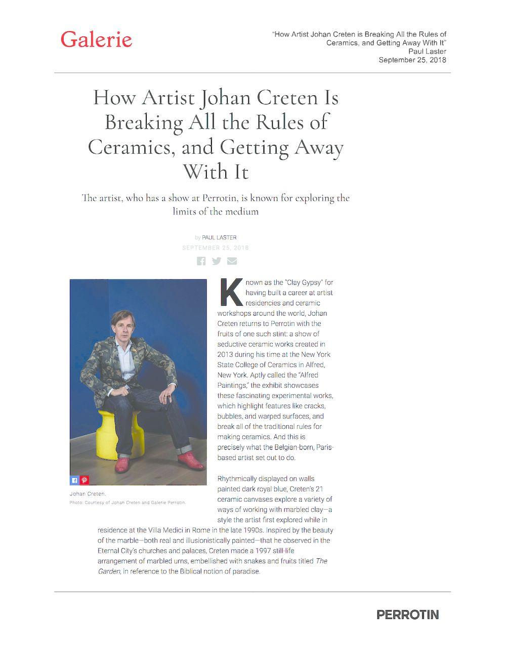 Galerie Magazine | Johan CRETEN