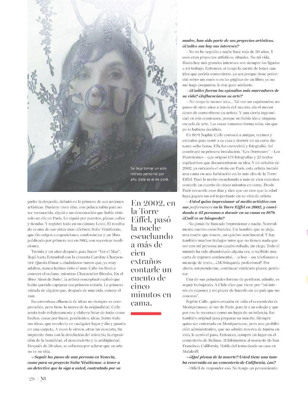 El Mercurio | Sophie CALLE
