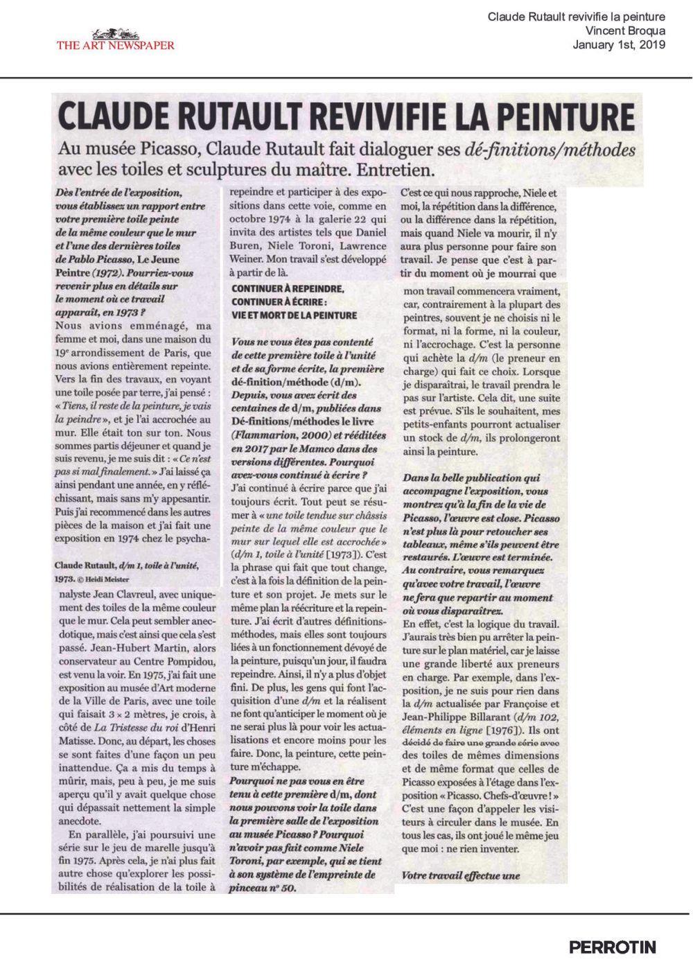 The Art Newspaper | Claude RUTAULT
