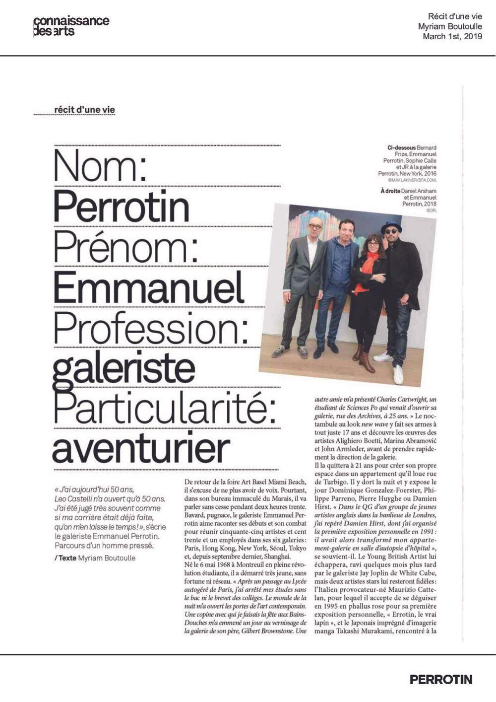 Connaissance des Arts | Emmanuel Perrotin