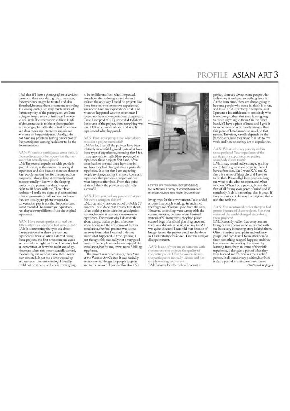 Asian Art Newspaper | LEE Mingwei