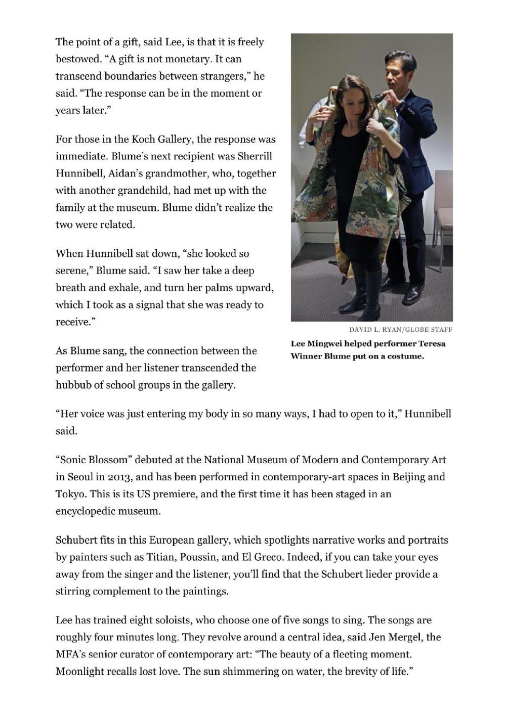 The Boston Globe | LEE Mingwei