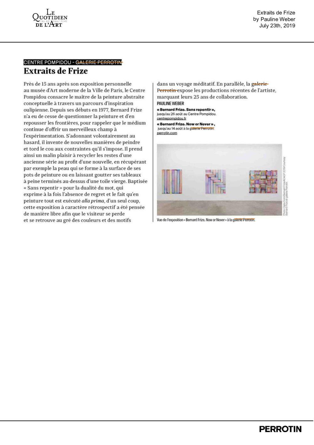 Le Quotidien de l'art | Bernard FRIZE