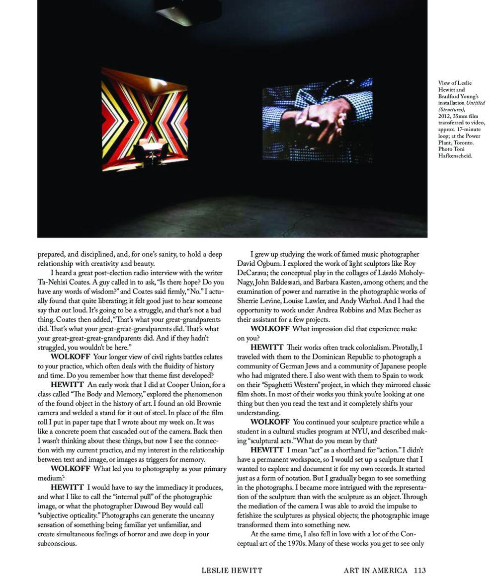 Art in America | Leslie HEWITT