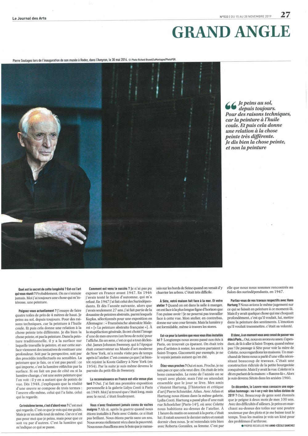 Le Journal des Arts | Pierre SOULAGES