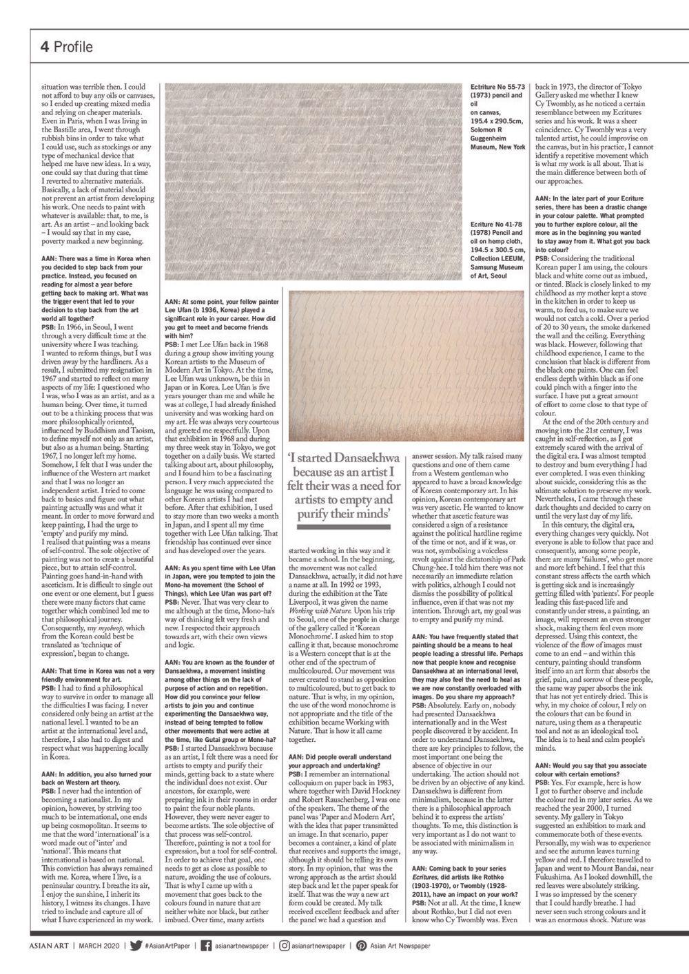 Asian Art Newspaper | Park Seo-Bo
