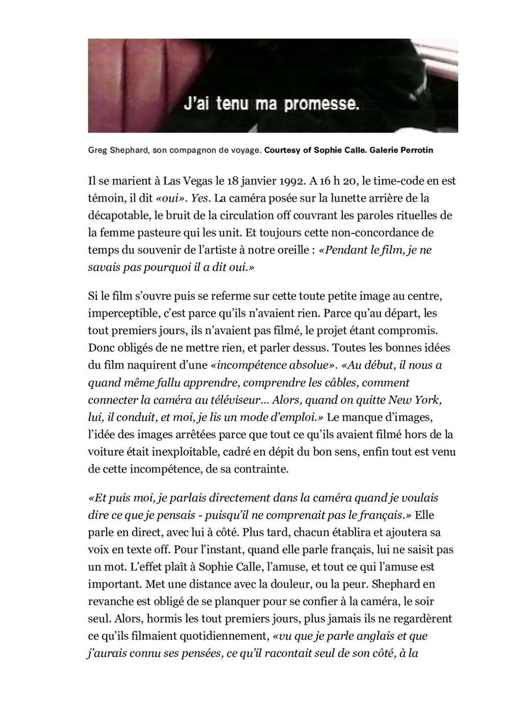 Libération | Sophie CALLE