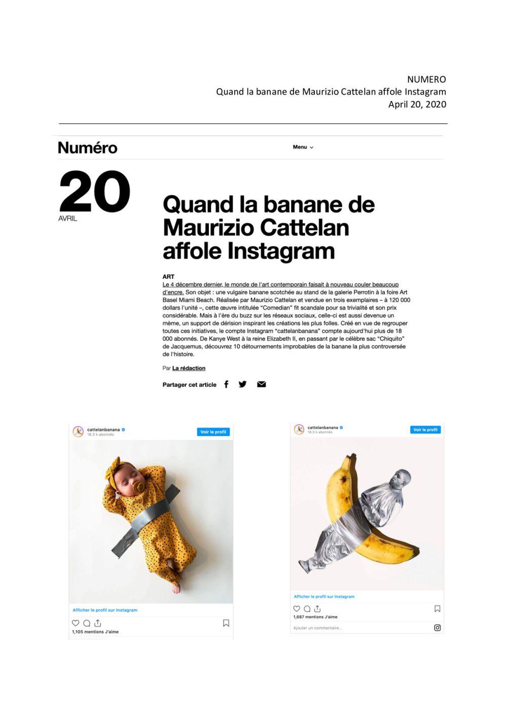 Numéro | Maurizio CATTELAN