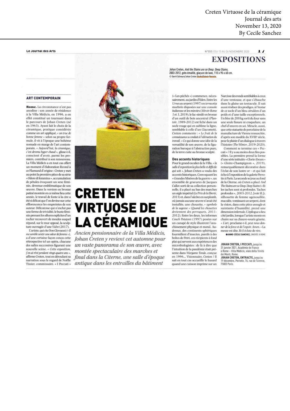 Le Journal des Arts | Johan CRETEN