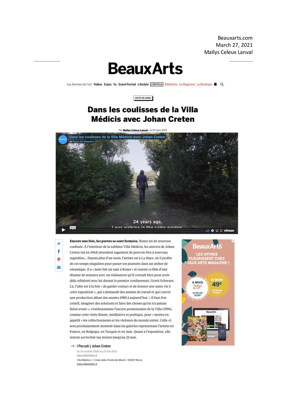 Beaux Arts Magazine | 約翰·克瑞坦