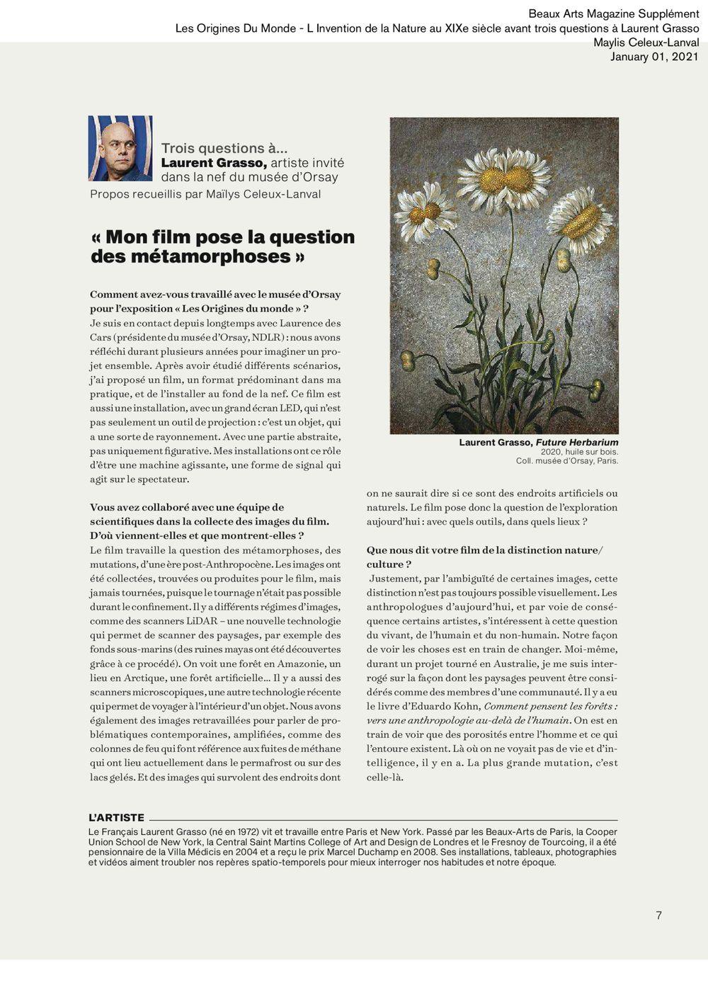 Beaux Arts Magazine | Laurent GRASSO