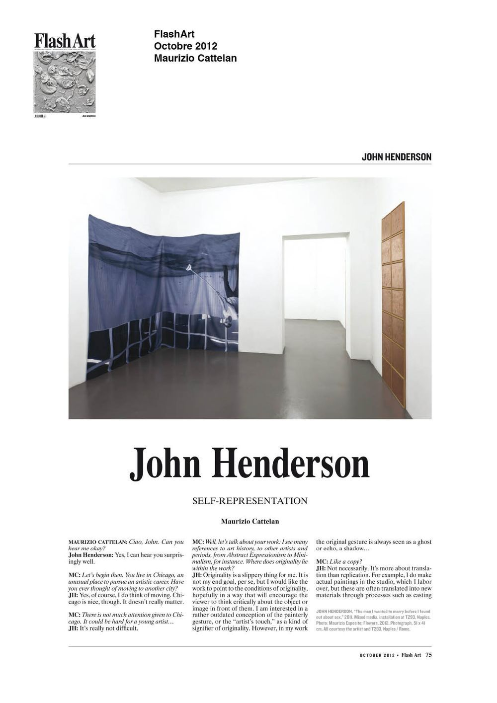 Flash Art | John HENDERSON