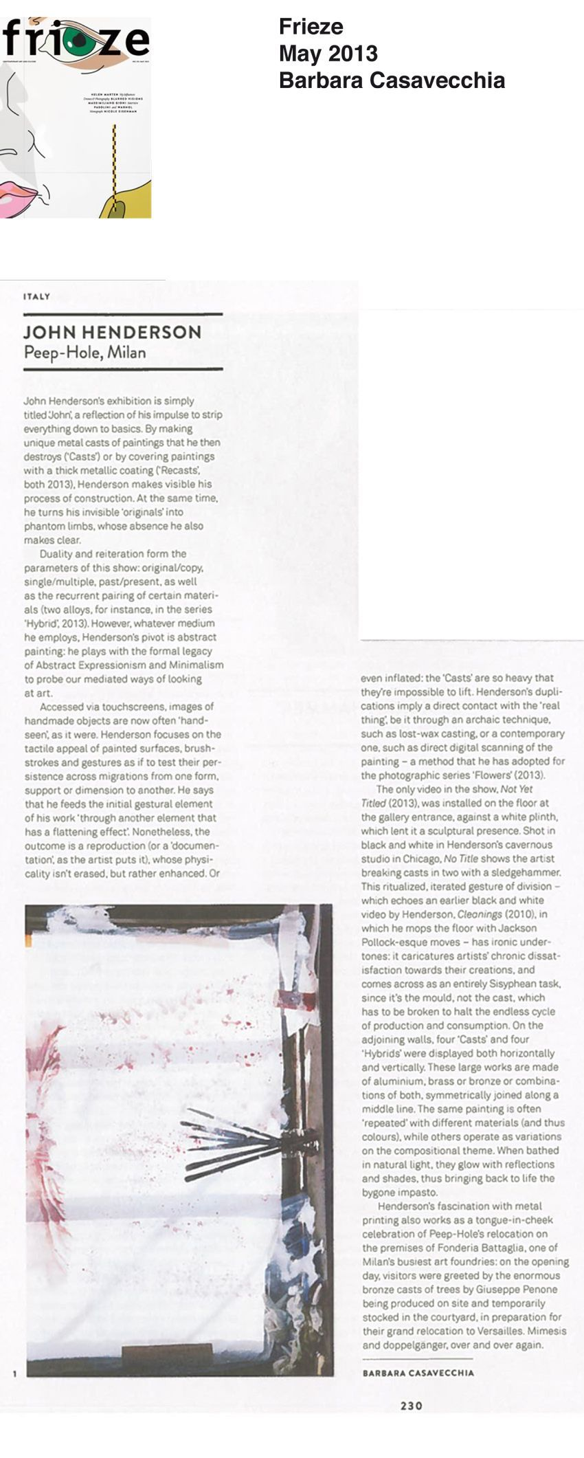 Frieze Magazine | 約翰·亨德森