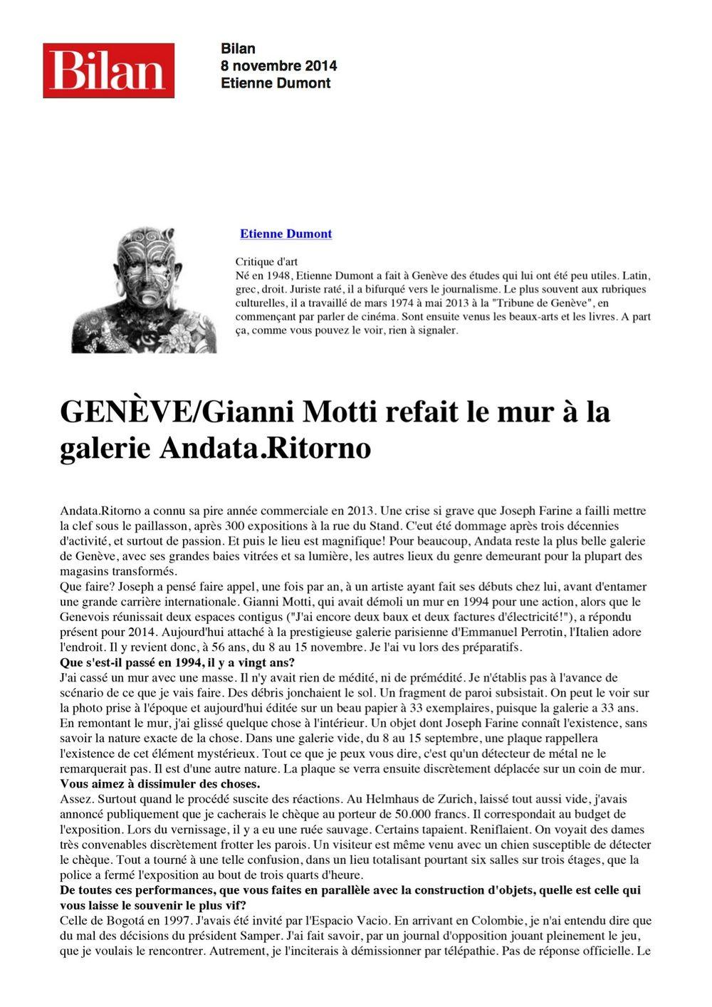 Bilan | Gianni MOTTI