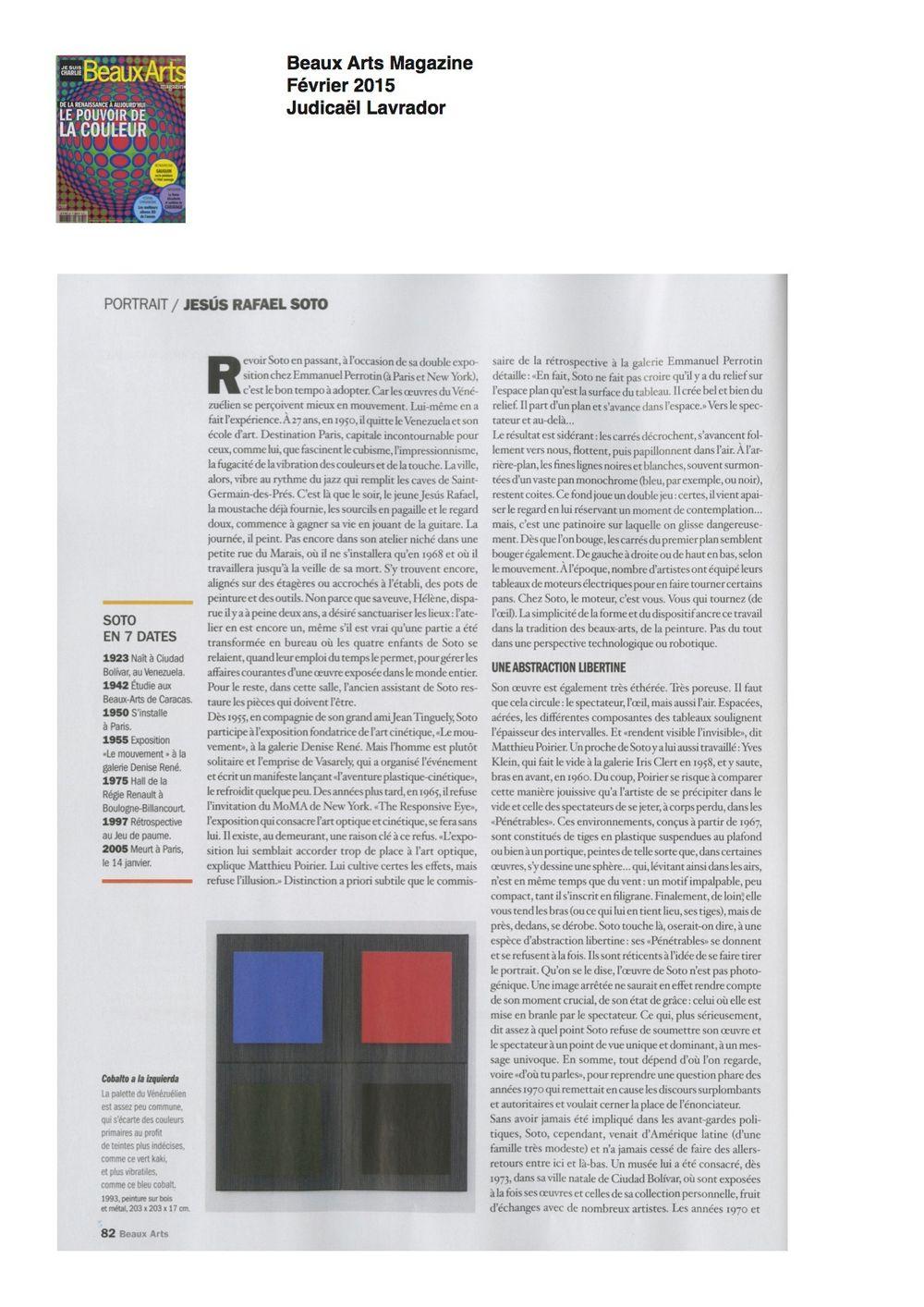 Beaux Arts Magazine | Jesús Rafael SOTO