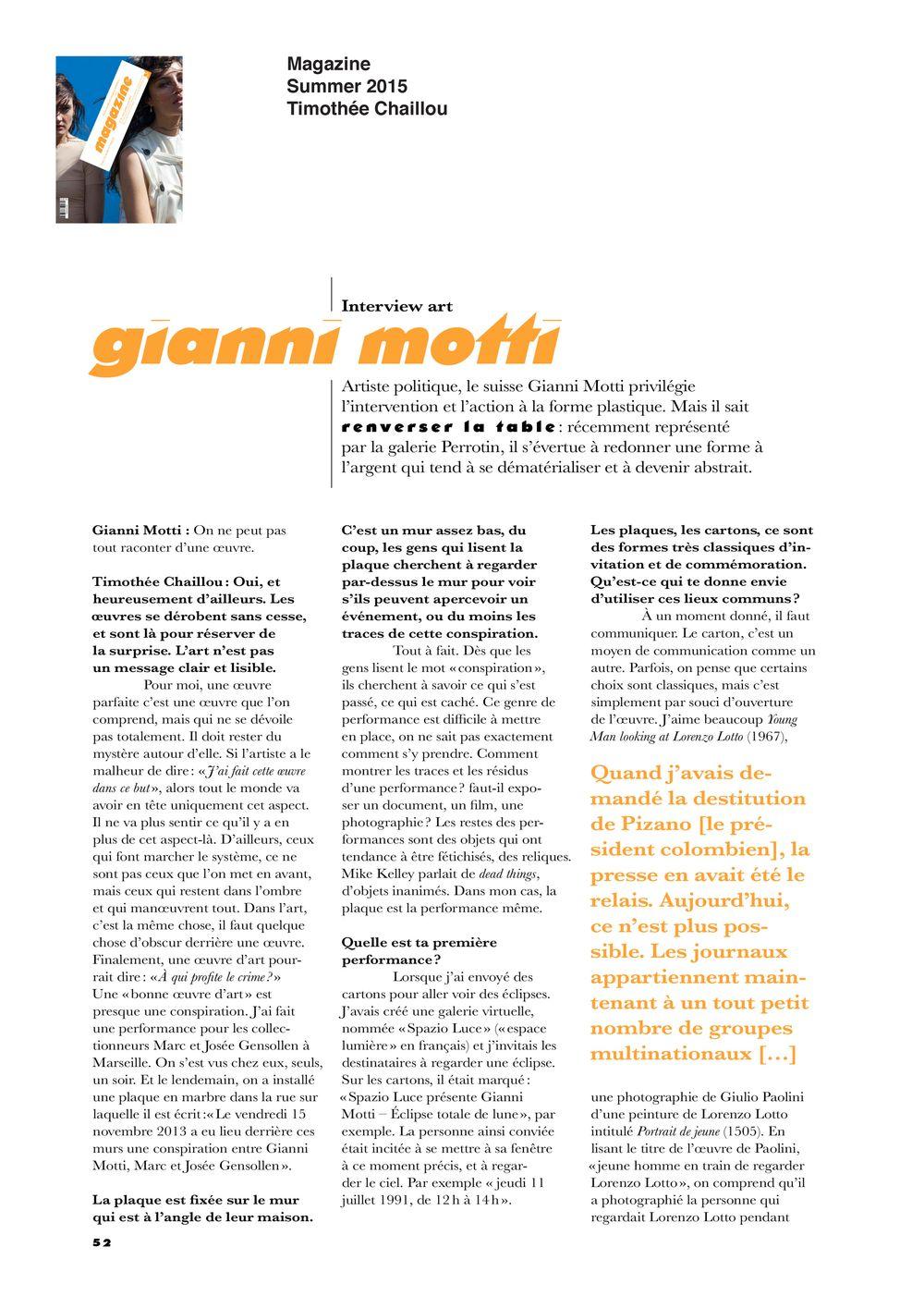 Magazine   Gianni MOTTI