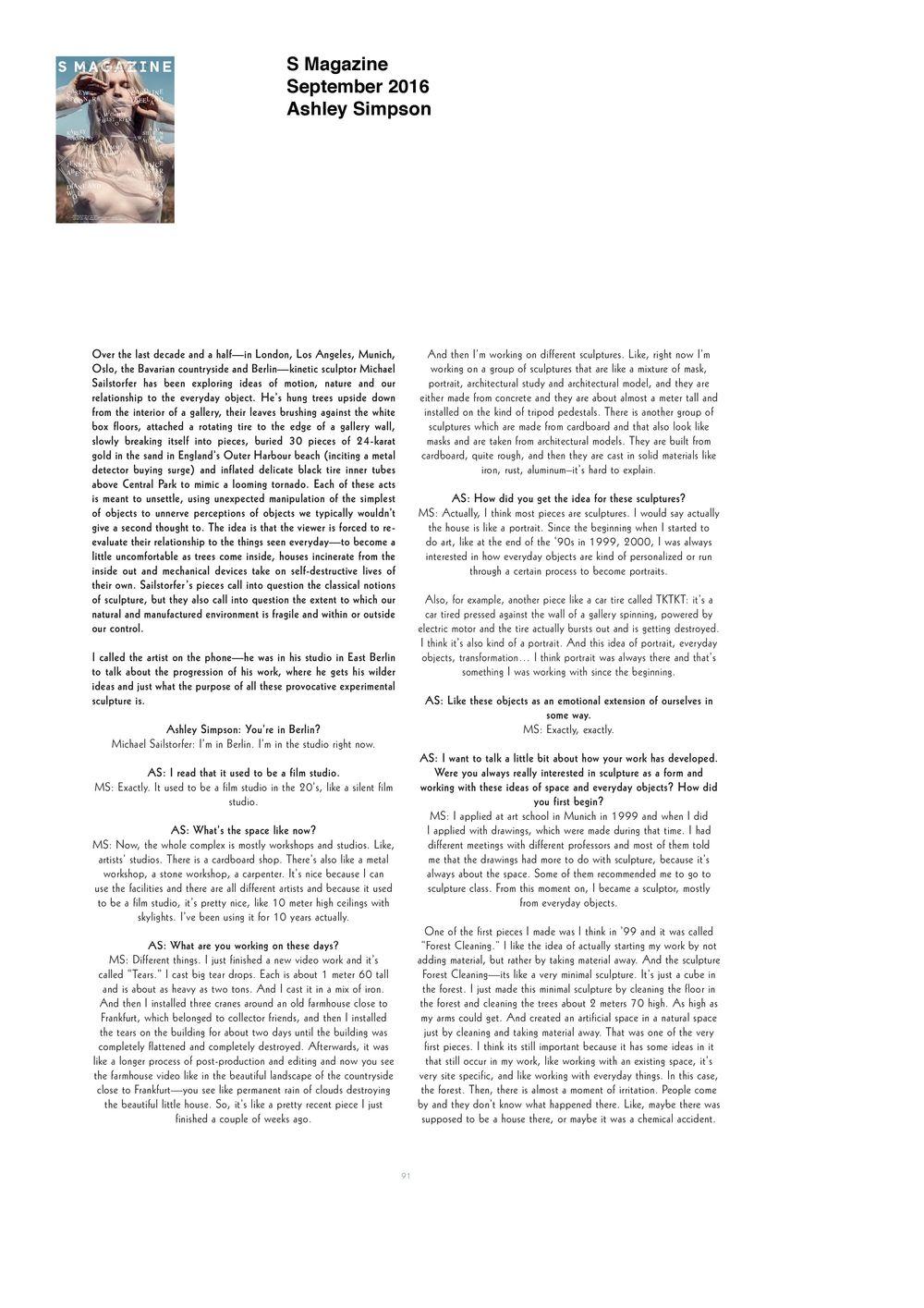 S Magazine  | Michael SAILSTORFER