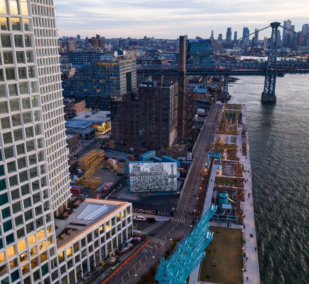 Artist:JR, Exhibition:The Chronicles of New York City at Domino Park