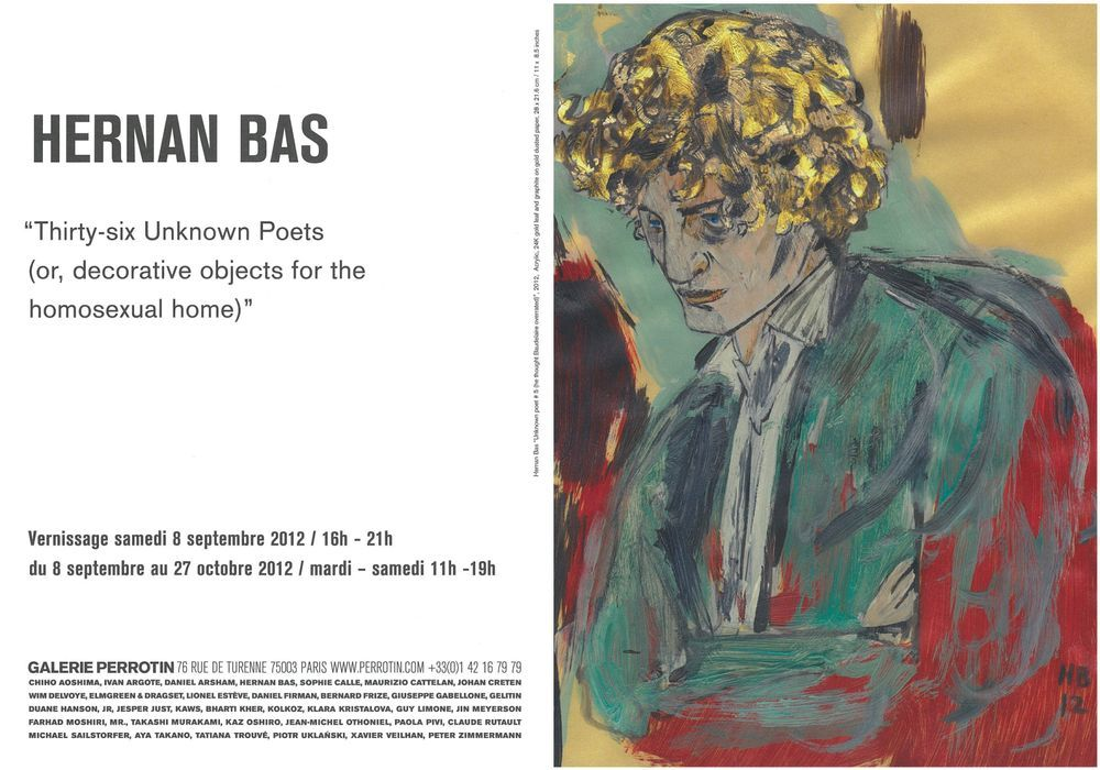 Artist:Hernan BAS, Exhibition:Thirty-six Unknown Poets (or, decorative objects for the homosexual home)