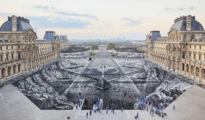Artist:JR, Exhibition: JR at the Louvre