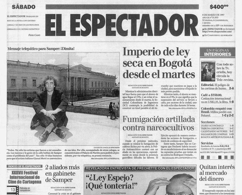 "coupure de presse ""El Espectador"""