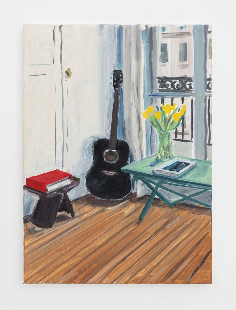 jean_philippe_delhomme_Black guitar and yellow tulips