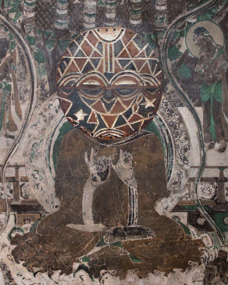 Zhen_Xu_Evolution-Seated Buddha from the South Wall of Mogao Cave No.066, Teke Tsaye Mask / 進化-莫高窟066窟主室南壁坐佛、Teke Tsaye Mask