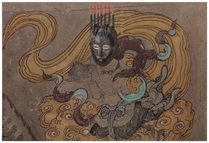 Zhen_Xu_Evolution-South Wall of Mogao Cave No.003, Ivory Coast Mask / 進化-莫高窟003窟主室南壁、 科特迪瓦面具