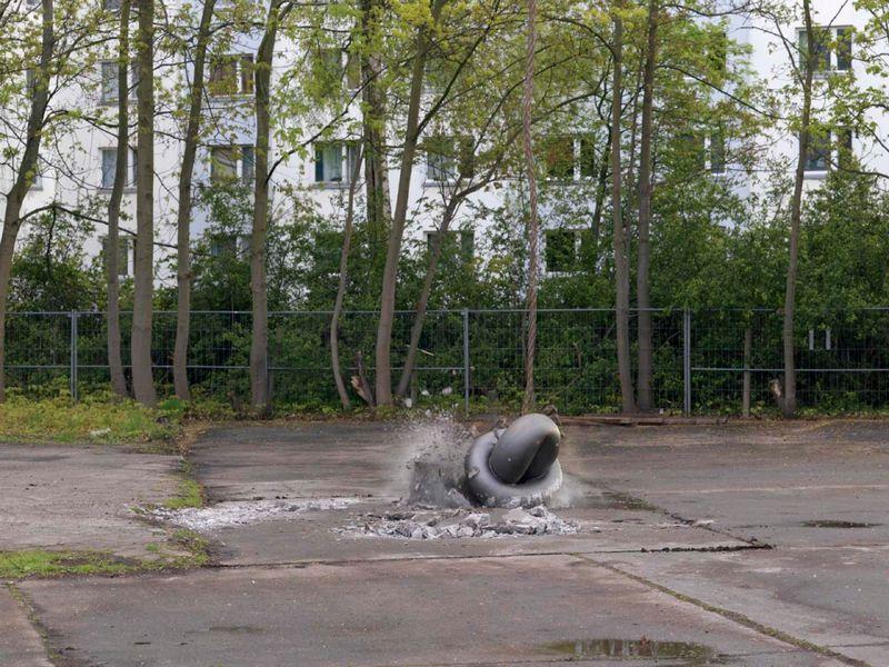 """Silver Cloud Performance"", Michael Sailstorfer's studio, Berlin, 2016"