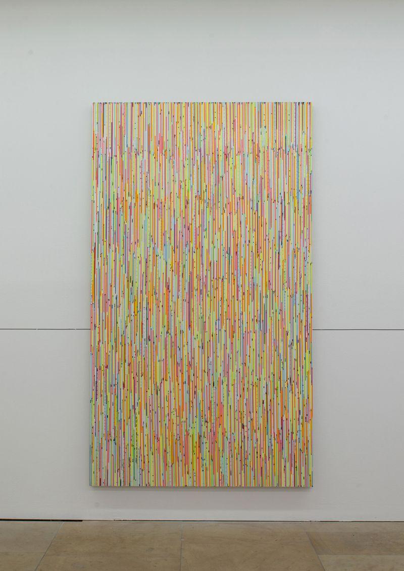 """Ich bin ein end und ein beginn (George)"" / ""I am a beginning and an end (Georg)"", 2015 / Amorces de bande magnétiques, peinture acrylique sur toile / Cassette tape start, acrylic paint on canvas / 244 x 140.5 x 4 cm / 96 x 55 1/3 x 1 1/2 in / Unique"