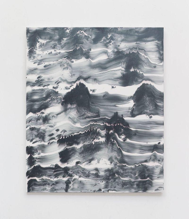 """Uitr"" 1992 / Acrylique, résine, encre et nacre sur toile / Acrylic paint and resin, ink and mother of pearl on canvas / 150 x 132 x 3 cm / 59 1/16 x 51 15/16 x 1 3/16 in / Unique"