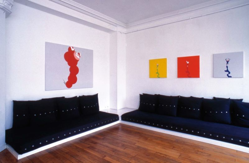 "Left to right: ""Monster"", 1995/Acrylic on canvas/122 x 152 cm / 48 by 59 7/8 inches/ Unique  ""Stew"" (yellow), 1995/Acrylic on canvas mounted on board/ 61x61cm /24x24inches""Stew"" (red), 1995/Acrylic on canvas mounted on board/ 61x61cm /24x24inches""Stew"" (blue) , 1995/Acrylic on canvas mounted on board/ 61x61cm /24x24inches"