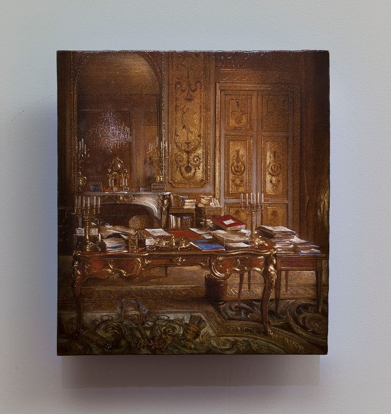 "View of the exhibition ""Para Museum"" at Musée des beaux-arts Palais Fesch, Ajaccio (France), 2016   ""Studies in the Past"" / Oil on wood / 30x26,5 cm , 11 13/16 x 10 7/16 inches / Unique"