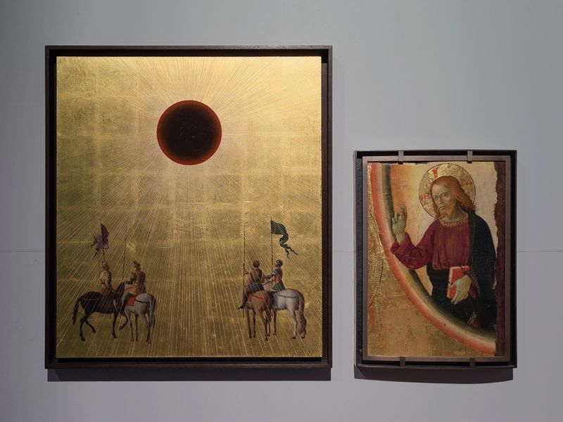 "View of the exhibition ""Para Museum"" at Musée des beaux-arts Palais Fesch, Ajaccio (France), 2016   On left : ""Studies into the Past"" / Oil on wood panel, gold leaf / 59 x 52 cm , 23 1/4 x 20 1/2 inches / Unique In an abstract space and covered in gold leaf, riders seem suspended in time, fascinated by the breathtaking sight of a black sun"
