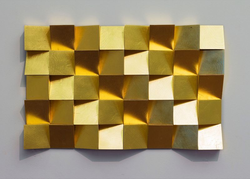 "View of the exhibition ""Para Museum"" at Musée des beaux-arts Palais Fesch, Ajaccio (France), 2016   ""Anechoic Wall"", 2016 / Wood, gold leaf / 35 x 49 x 3.5 cm , 13 3/4 x 19 5/16 x 1 3/8 inches / Unique"