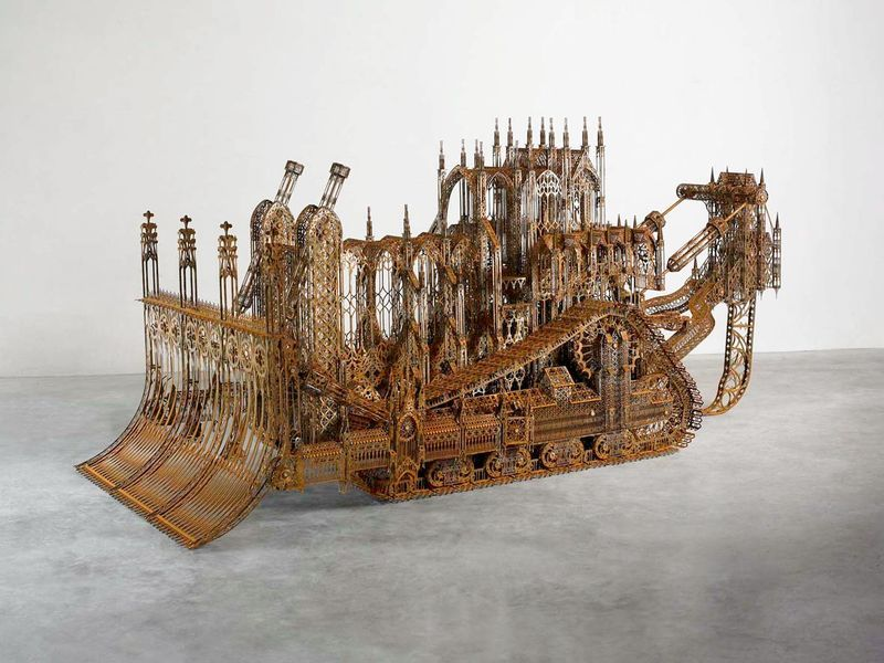 """D11 (maquette 1:4)"" / ""D11 (model 1:4)"" 2008Acier corten / Lasercut corten steel / 117 x 270 x 127 cm / 46 inches x 8.10 feet x 50 1/2 inches / Unique artwork"