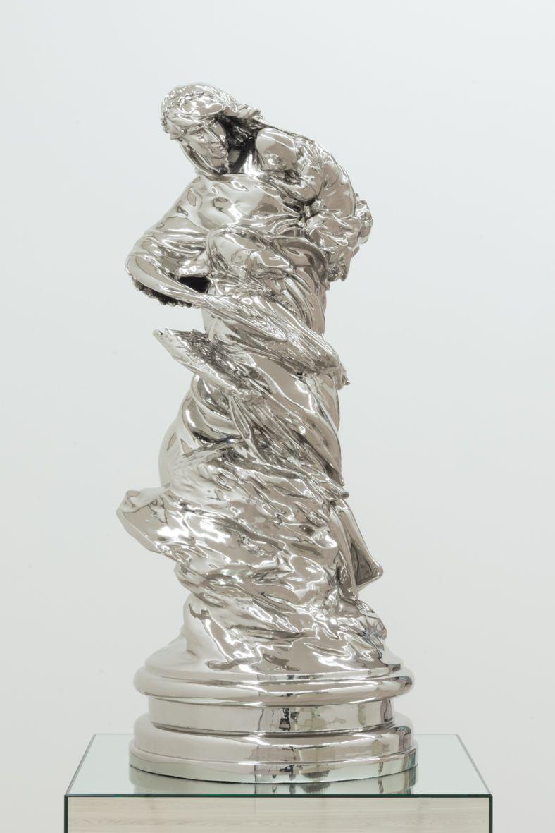 """La Pêche Clockwise"" (scale model 2:3) 2011 / Bronze nickelé et verni / Nickeled bronze, varnished /118 x 49 x 50 cm / 46 1/2 x 19 1/4 x 19 3/4 inches / Unique artwork"