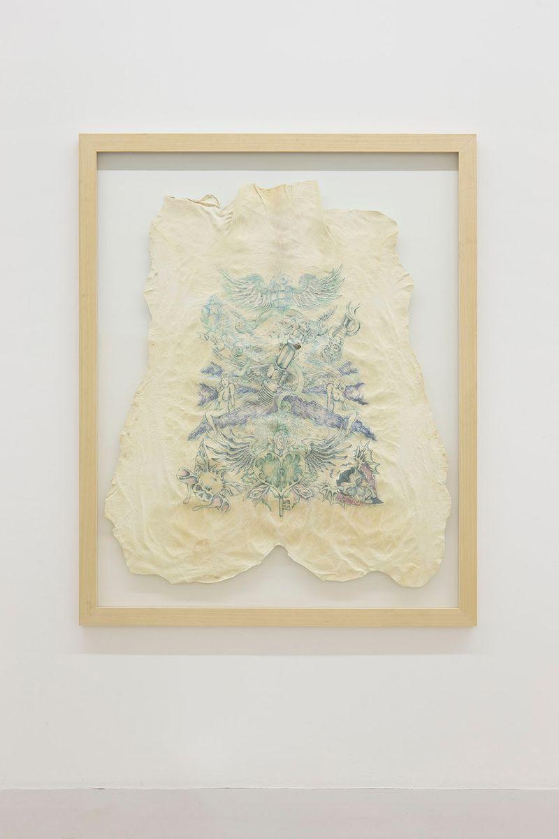 """""""13"""" 2006 / Peau de cochon tatouée  / Tattooed pig skin / 153 x 123 cm / 60 1/4 x 48 1/2 inches / Unique artwork"""