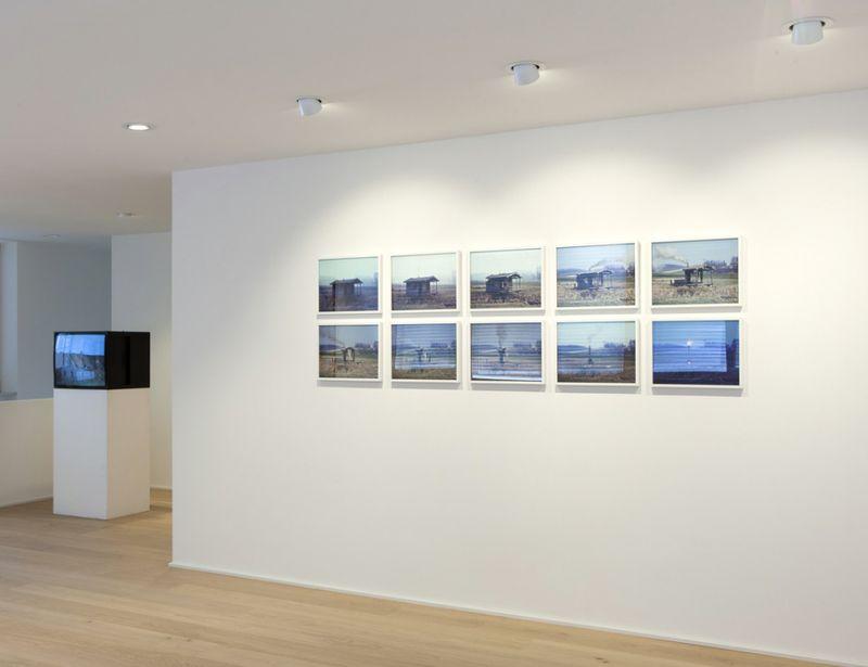 """View of the exhibition TROUBLING MATTER at Galerie Jahn, Landshut (Germany ), 2016 """"3 Ster mit Ausblick - in Zusammenarbeit mit Jürgen Heinert"""", 2002 / 10 Cibachromes on alu dibond / 30 x 40 cm 46.7 x 56.7 cm (framed)"""