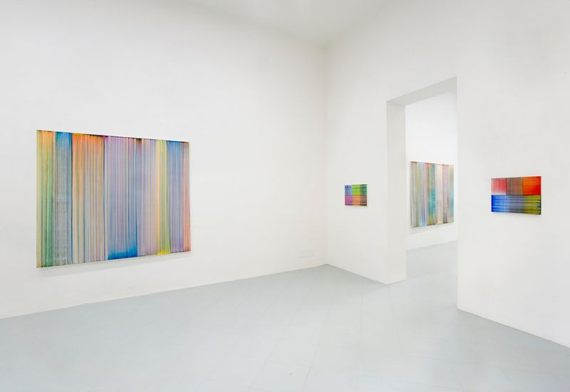 """Bernard_Frize_View of the exhibition """"Bernard Frize. Northern Lights, Waterfalls and Oceans."""" at Galleria Gentili Florence (Italy), 2017_12681_1"""