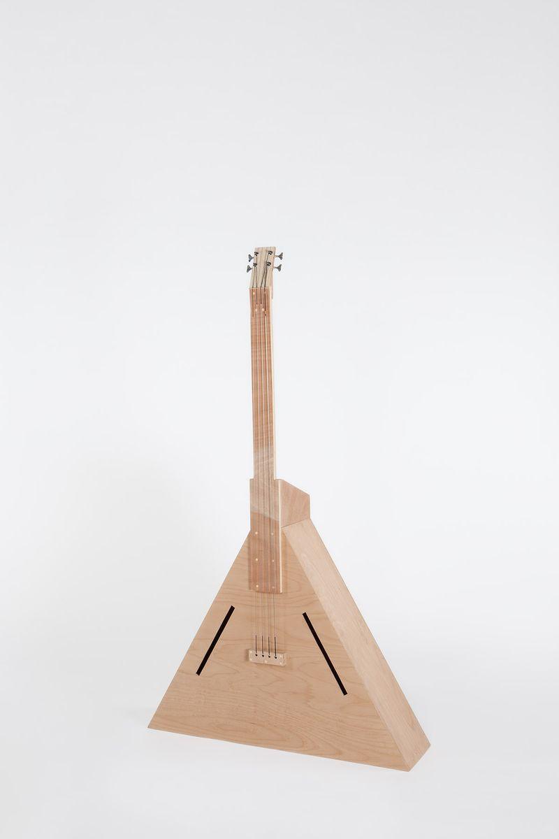 """""""Instrument 02 (Triangle - Contrebasse)"""" / """"Instrument 02 (Triangle - Contrabass)"""" , 2017Contreplaqué de hêtre, contreplaqué d'okoumé, sapin, éléments mécaniques, acier / Beech plywood, okoumé plywood, fir, mechanical elements, steel / 207 x 120 x 33 cm / 81 1/2 x 47 1/4 x 13 in / Unique artwork"""
