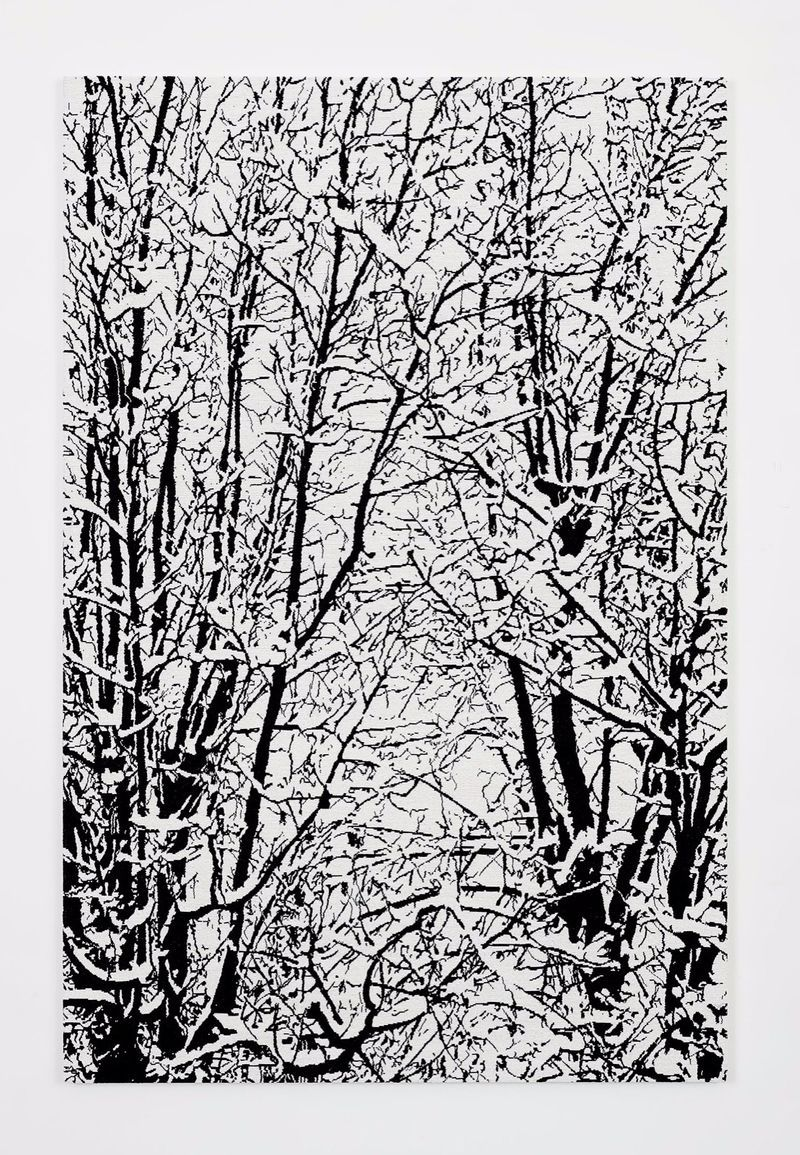 """SNOW FOREST 001A,"" 2017, hand embroidered beads on canvas on board, 200 x 120 cm (78 3/4 x 47 1/4 inches)"