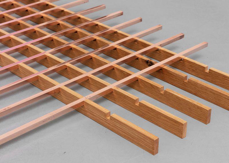Untitled, 2018, copper, wood, 152.4 × 121.9 × 3.8 cm (detail)