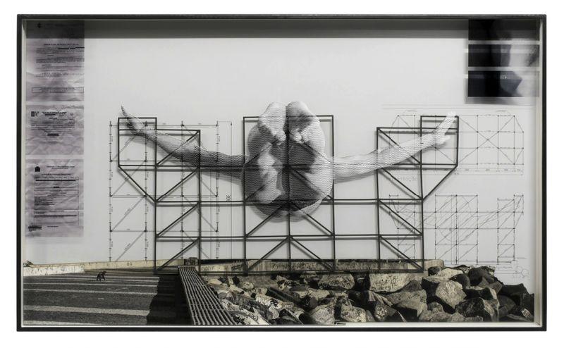 GIANTS, Cleuson LIMA DO ROSARIO from Brazil, Barra da Tijuca, from the pier, © Comité international Olympique, Work in progress, Rio de Janeiro, Brazil, 2017Inkjet print, dibond, Duraclear, steel frameh. 65 × L. 105 × l. 7 cm | h. 25 9/16 × l. 41 5/16 × w. 2 3/4 inUnique