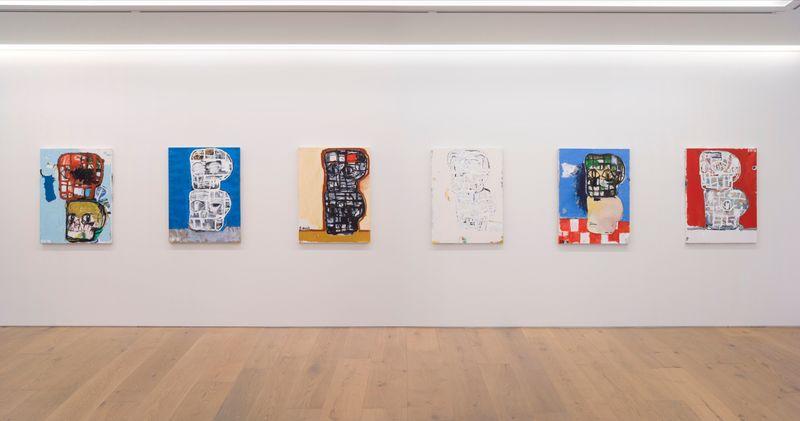 "eddie_martinez_View of the exhibition ""Blockhead Stacks"" at Perrotin Co., Ltd.  Tokyo (Japon), 2018_16512"