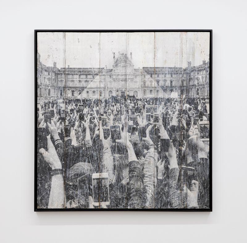 JR at the Louvre, participatory workshop, Sunday May 29, 11.12 a.m., La Pyramide, selfie, Ink on wood © Pyramide, architect I.M. Pei, musée du Louvre, Paris, France, 2016Ink on wood155 × 155 cm | 61 1/16 × 61 1/16 inUnique
