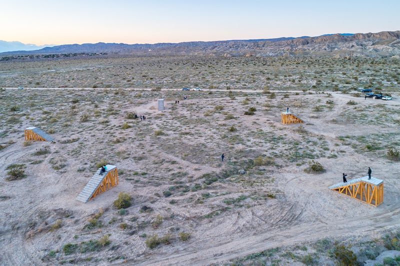 "View of Ivan Argote's site-specific installation, ""A Point of View,"" for the Desert X Biennial in Coachella Valley, CA"