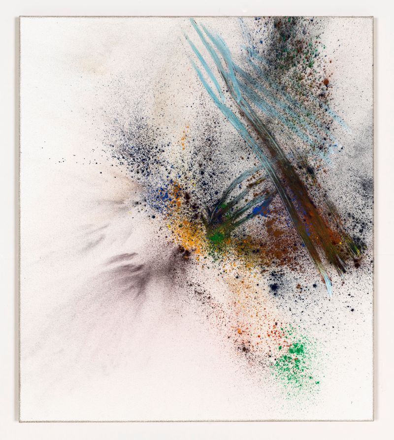 Thilo Heinzmann, O.T., 2019. Oil and pigment on canvas, plexiglass cover. 83 x 73 x 8.5 cm | 32 11/16 x 28 3/4 x 3 3/8 inch. Courtesy of the artist and Perrotin.