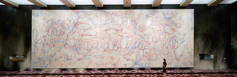 AlUla DOB, 2019Acrylic on canvas600 × 1500 cm (30 panels, 300 × 100 cm each) Courtesy of the artist and PERROTIN©2019 Takashi Murakami/Kaikai Kiki Co., Ltd. All Rights Reserved.Excuse Painting: Tai Kwun Museum, 2019 Acrylic on canvas57.7 × 49.1 cm each (2 panels)Courtesy of the artist©2019 Takashi Murakami/Kaikai Kiki Co., Ltd. All Rights Reserved.